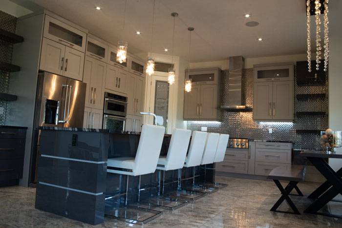 Royal Premier Homes - Eco Friendly Home Builders London - Cranbrook I - Wash Room with Mirror and LightsRoyal Premier Homes - Eco Friendly Home Builders London - Cranbrook I - Kitchen Area