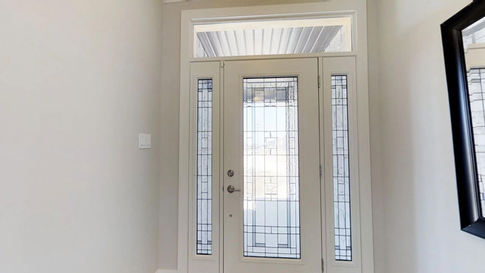 Royal Premier Homes - Eco Friendly Home Builders London - Privet - White Glass Door Entrance